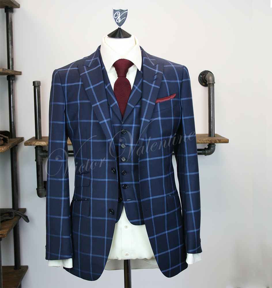 special for shoe promo codes new photos Navy Square Check 3 Piece Suit for sale from Victor Valentine