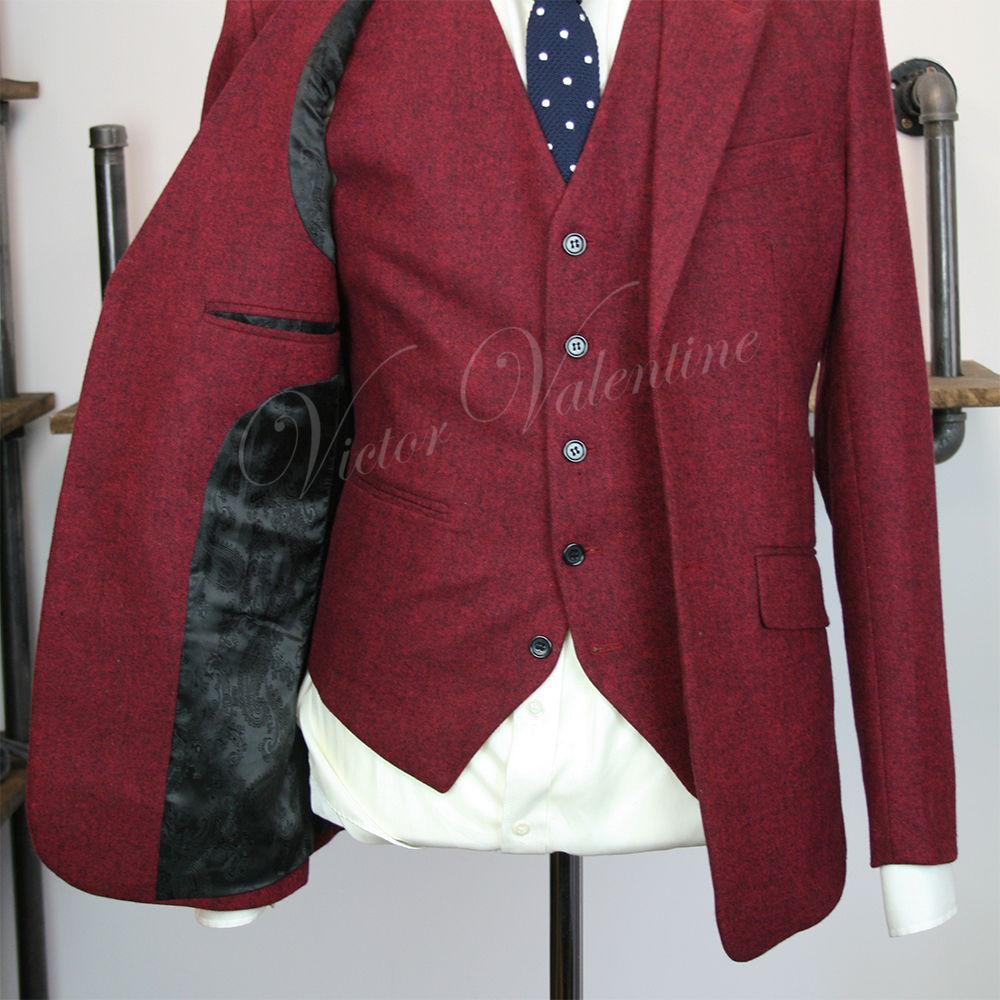 Burgundy Classic Tweed 3 Piece Suit For Sale By Victor