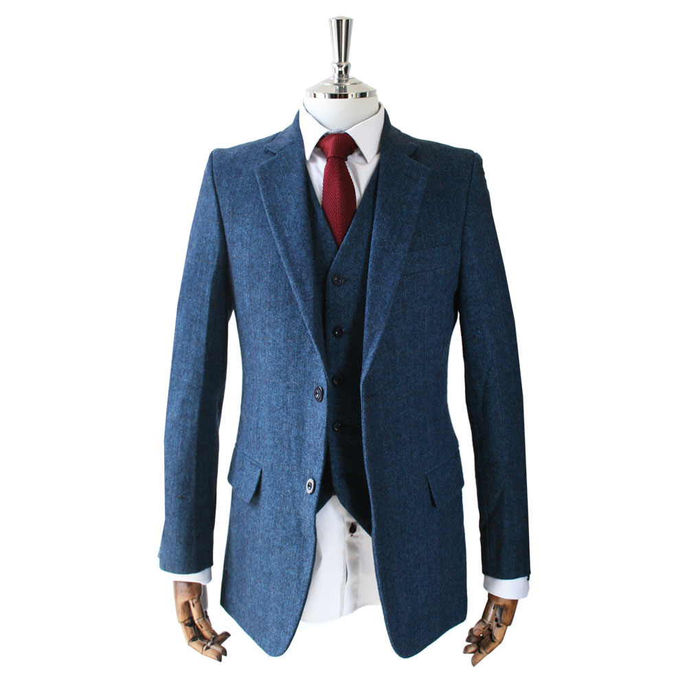 Blue Herringbone Tweed 3 Piece Suit from Victor Valentine