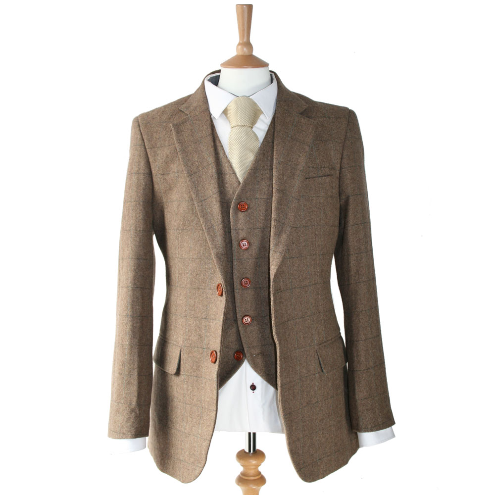 Brown Herringbone 3 Piece Tweed Suit for sale from Victor Valentine