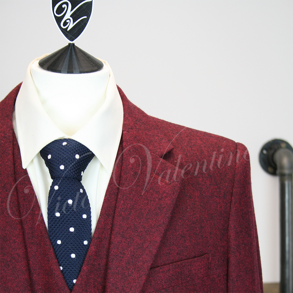 2 Suits For 99 >> Burgundy Classic Tweed 3 piece suit for sale by Victor Valentine