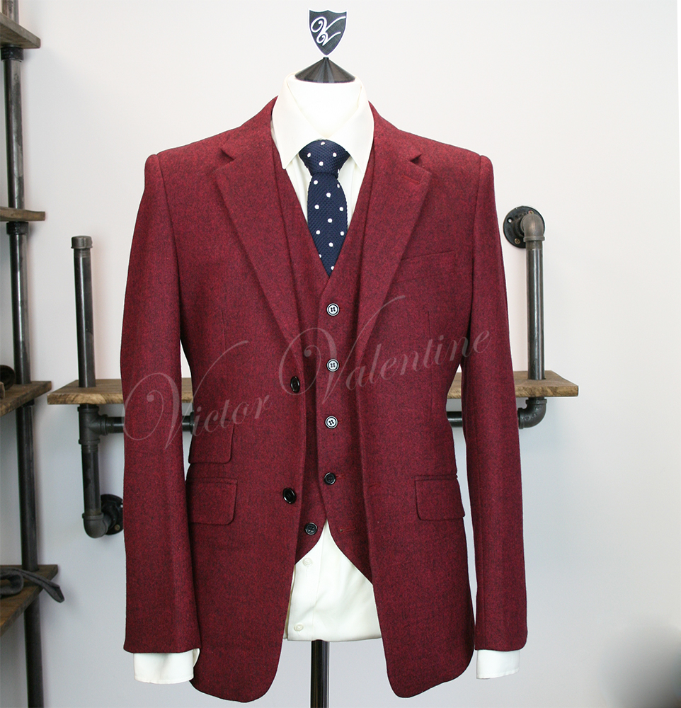 Burgundy Classic Tweed 3 piece suit for sale by Victor Valentine